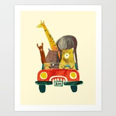 hand drawn illustration of animals driving car.<br/> <br/> cute, funny, car, bear...