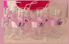 pink birthday - butterfly cups