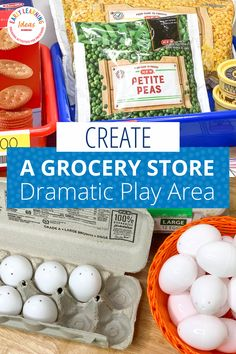 Find tips & ideas to set up a fun grocery store dramatic play area in your preschool classroom or at home. Get directions for food, props to add to your center (free, inexpensive and DIY ideas are included). Find examples of printables and ideas to add literacy elements and math elements to promote play-based learning. Perfect for a grocery store, farmers market, supermarket that your kids will love. Play Based Learning, Interactive Learning, Early Learning, Preschool Themes, Preschool Classroom, Literacy Activities, Dramatic Play Area, Dramatic Play Centers, Community Helpers Preschool