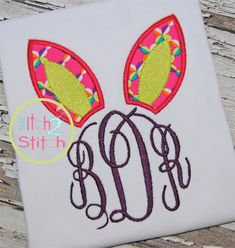 Bunny Ears Monogram Applique Design For Machine by TheItch2Stitch