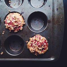 roasted plum muffins with hazelnut & cardamom