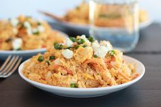 Buffalo Chicken Quinoa Salad - ditch most of the oil (just enough to thin the buffalo sauce) and seasoning salt and mix the sauce with a package of ranch dressing mix - so freaking good! And replace blue cheese with low fat goat cheese!