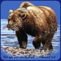 Daniel 7: 5 bear represents Persia. Ribs are Lydia, Babylon and Egypt.