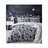 Catherine Lansfield Cosy Penguin Fleece Christmas Duvet Cover and Pillowcase Set in Single, Double and King sizes Snuggle up and doze off when it's cold outside with the charming Cosy Penguin fleece duvet cover and pillowcase set Catherine Lansfield. Made from super soft fleece fabric in a pastel grey colour scheme, it features an adorable design with lots of stylized penguins exploring a snowy forest. It's finished with an extra fluffy reverse that's perfect for getting comfy under.Matching… Pastel Grey, Snowy Forest, Gray Color, Colour, Fleece Fabric, Duvet Cover Sets, King Size, Penguins, Cosy