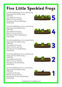 Five Little Speckled Frogs song sheet (SB10901) - SparkleBox