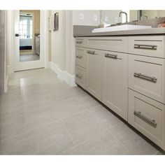 Bathroom Floor Tiles, Wall And Floor Tiles, Wall Tiles, Tan Kitchen, Kitchen Decor, Kitchen Ideas, Stained Concrete, Grey Cabinets, Kitchen Flooring