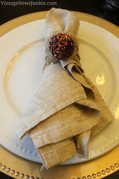 Easy DIY Burlap Napkin Rings with Pinecone Embellishment
