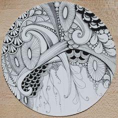 Zendala by Chelsea Kennedy CZT - Artistic Intentions Tangle Doodle, Tangle Art, Zen Doodle, Doodle Art, Doodle Inspiration, Zentangle Drawings, Doodles Zentangles, Doodle Patterns, Zentangle Patterns