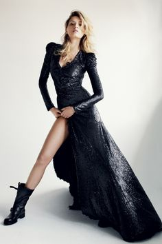 BALMAIN - masculine boots w wonderfully tapered dress. Nothing but black.
