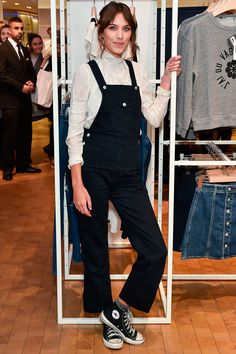 Alexa Chung Rocks Dungarees At The Launch Of Her AG Jeans Collaboration In London, 2015