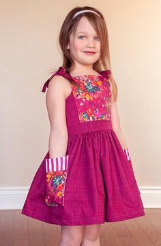 Girls Bristol pattern features a dress or top length, ties on shoulders or at upper back, a beautiful elastic panel in the back, and oversize pockets! Baby Girl Dresses Diy, Baby Outfits, Baby Girl Frocks, Frocks For Girls, Little Girl Dresses, Kids Outfits, Baby Girls, Girls Dresses, Dress Girl