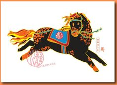 Horse Chinese New Year Card Set  Chinese by stillwaterartstudio, $28.00