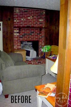 Family room makeover and a new TV, in a new space, on Black Friday, or not. Coastal Homes, Coastal Living, Coastal Decor, Find Furniture, Furniture Makeover, Old Fireplace, Old Shutters, Makeover Before And After, Furniture Placement