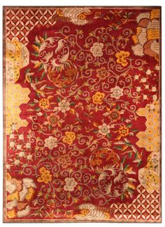 A Chinese Deco rug BB4023 - by Doris Leslie Blau.  A second quarter 20th century Chinese Art Deco rug, the rich red field with a dramatic design of bold scrolling ...