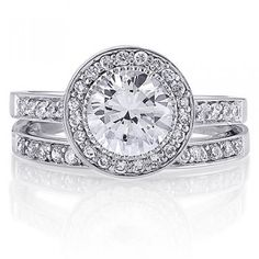 Sterling Silver Round Cubic Zirconia CZ Ring Set