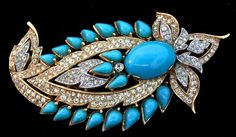 Vtg TRIFARI Jewels of India JOI Turquoise Cabochon Rhinestone Brooch Pin   Jewelry & Watches, Vintage & Antique Jewelry, Costume   eBay!
