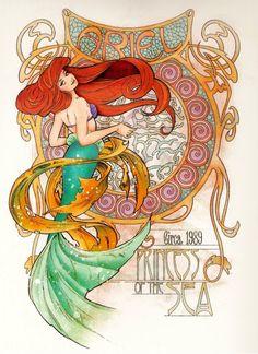 Ariel Art Nouveau Disney Princesses ( The Little Mermaid) Disney Princess Art, Disney Kunst, Disney Fan Art, Disney Love, Disney Magic, Disney Princesses, Mermaid Princess, Punk Princess, Disney Couples