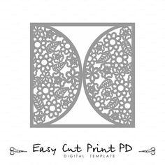 Wedding invitation Card Template Flowers Lace от EasyCutPrintPD