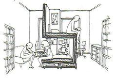写真:子どもふたり用に、二段ベッドを使って6畳を立体的に分ける                                                                                                                                                                                 もっと見る