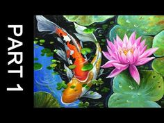 Paint koi fish with Acrylic on canvas - PART 1 - YouTube