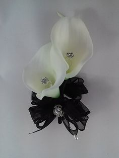 White Real Touch Calla Lily and Rhinestone by BecauseOfLoveFloral