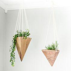Geometric Hanging Planter - Walnut