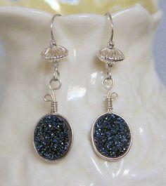 Midnight Blue Agate Druzy Gemstone Earrings, Handmade Sterling Silver Wire Wrapped Oval Drop Dangle Earrings by AdornmentsAndFrills on Etsy