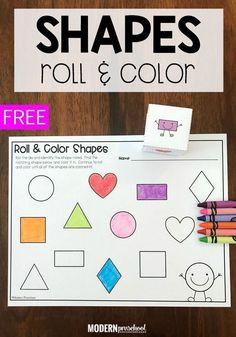 Shape Roll & Color Math Activity