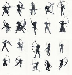 """Watercolour silhouettes of archers, in order to study poses for a drawing that I have yet to finish. ^^"""" Used various photos (and MHFU screencaps ^^) as references. Character Poses, Character Drawing, Character Illustration, Character Design, Website Illustration, Bow Drawing, Gesture Drawing, Drawing Poses, Archery Poses"""