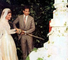 Prince Pavlos of Greece and Marie-Chantal Miller (U. the cake was made by Colette Peters. The main cake was 8 tiers tall & was accompanied by 300 additional cakes, table. The cake design was inspired by a china pattern from the Royal Collection. Greek Royal Family, Danish Royal Family, Royal Wedding Gowns, Royal Weddings, Marie Chantal Of Greece, Greek Royalty, Royal Marriage, Royal Cakes, The Royal Collection