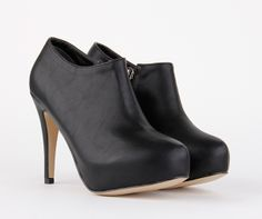 low price petite size ladies faux black leather ankle bootie geena