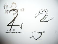 Cómo dibujar el número 2 de forma original. A los niños les encanta dibujar e imaginar. Aquí te enseñamos un ejercicio para hacer con los más pequeños de la casa y con los no tan pequeños. Se trata de imaginar y dibujar cosas, animales, persona... Bird Drawings, Doodle Drawings, Animal Drawings, Easy Drawings, Drawing Animals, Alphabet Art, Alphabet And Numbers, Animals With S, Number Drawing