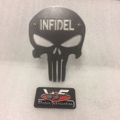 """Punisher Skull with """"INFIDEL"""" Hitch Cover - made from steel, its very sturdy! Skull Flag, Sheet Metal Fabrication, Punisher Skull, Cover, Trucks, Steel, Ebay, Truck, Steel Grades"""