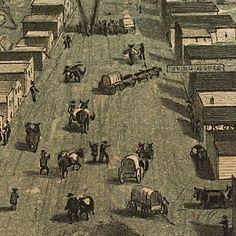 #Sacramento, #California birdseye #map (1850)