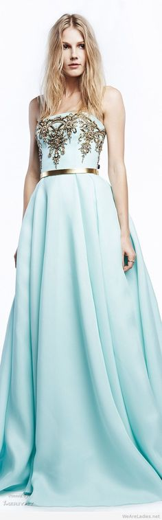 Long light blue dress with gold details