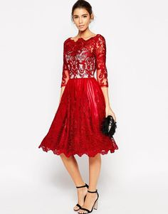 Chi Chi London | Chi Chi London Premium Lace Midi Prom Dress With Bardot Neck And 3/4 Sleeve at ASOS