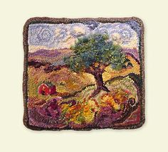 Tree on the Hill like this but four different ones in all four seasons! Locker Hooking, Rug Hooking, Vintage Rugs, Vintage World Maps, Hook Punch, Hand Hooked Rugs, Rag Rugs, Rug Ideas, Tapestries
