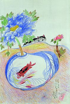 Jimmy Tsutomu Mirikitani (c) lucid dreaming inc. Blue Peonies, Blue Flowers, Autumn Nature, Lucid Dreaming, Outsider Art, Goldfish, Cat Art, Art Museum, Cool Pictures