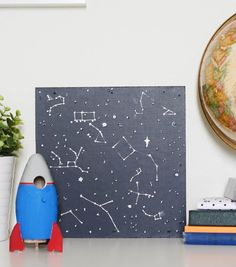 Kids Project Ideas -- Glow in the Dark Constellation Art | Space Room