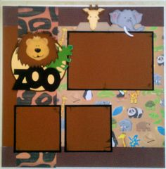 Zoo 12x12 premade scrapbook layout page Ohioscrapper on Etsy, $15.00