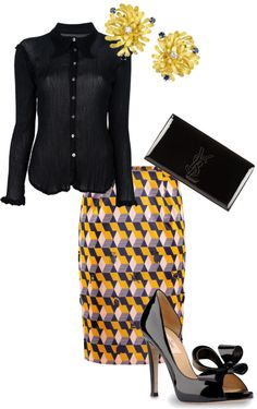 """""""black a. yellow."""" by settingmoon on Polyvore"""