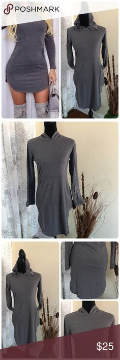 Grey Hooded Long Sleeve Bodycon Casual Dress-NWOT The grey is on the darker side. A simple casual hooded dress with front pocket. ❤️Cotton/Spandex❤️ Bust 35-46❤️ Waist 28-37 ❤️ Shoulder 15❤️ Sleeve 21 ❤️ Neck circumference 24❤️ Length till side split 29❤️ Back length 36❤️ Tag is L, but it tend to fit a size down, please refer to measurement instead referring tobtag size. Boutique Dresses Midi