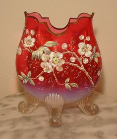Moser Ruby Opalescent Gilded Footed Art Glass Pillow Vase Coralene Decorated