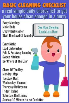 Basic Cleaning Checklist / a real simple daily chores list to get your house clean enough in a hurry / See More Cleaning Check Lists Here Monthly Cleaning Schedule, Clean House Schedule, Weekly Cleaning, Cleaning Checklist, House Cleaning Tips, Diy Cleaning Products, Cleaning Hacks, Cleaning Lists, Diy Products