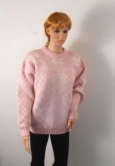 Women's Pink Sweater   Pink and White Acrylic by VintageElations