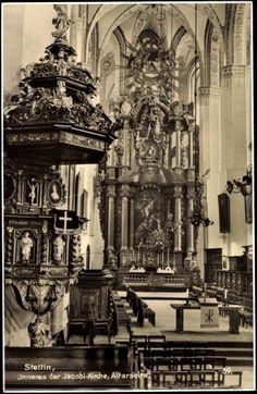 Postkarte Stettin Pommern, Jacobi Kirche, Altarseite von innen