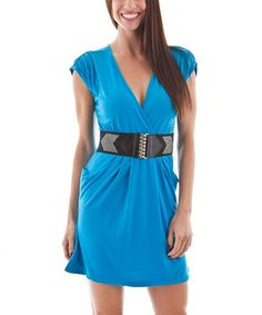 Loving this Blue & Black Ruched Sleeve Stud Wrap Dress on #zulily! #zulilyfinds