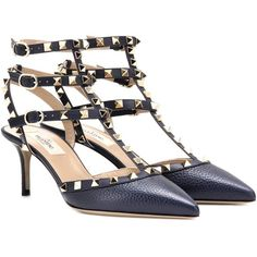 Valentino Rockstud Leather Kitten-Heel Pumps ($965) ❤ liked on Polyvore featuring shoes, pumps, open shoes, blue, kitten heel pumps, blue leather shoes, valentino pumps, real leather shoes and leather footwear