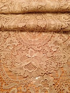 """Gorgeous ANTIQUE FRENCH Net TAMBOUR Lace Runner LONG 70"""" x 16"""". Close up of lace details."""