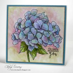 Jumbo Hydrangea by Stampendous, Simply Camellias by Power Poppy for sentiment, Watercoloring with distress inks, Designed by Cheryl Scrivens, CherylQuilts Cat Outline, Watercolor Cards, Watercolour Flowers, Beautiful Handmade Cards, Pretty Cards, Cat Tattoo, Copics, Distress Ink, Flower Cards